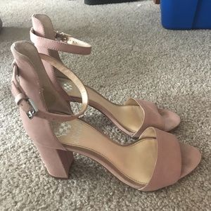 Vince Camuto Muted Pink Suede Block Heels